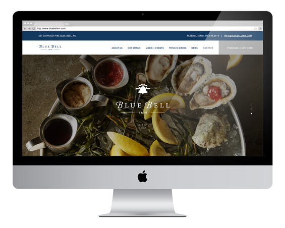blue bell inn website on desktop