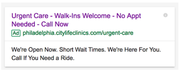 citylife clinics google ad